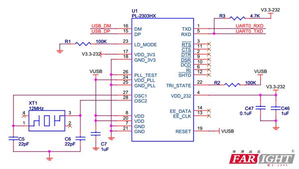 """2 pl-2303转换芯片的电路图    说明:(1)标有""""x""""的信号只有在选择执行"""